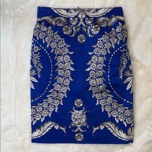 Anthro pencil skirt Baraschi blue white baroque